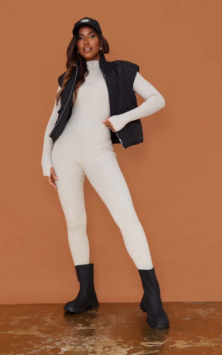 Stone Zip Detail Knitted Jumpsuit 1
