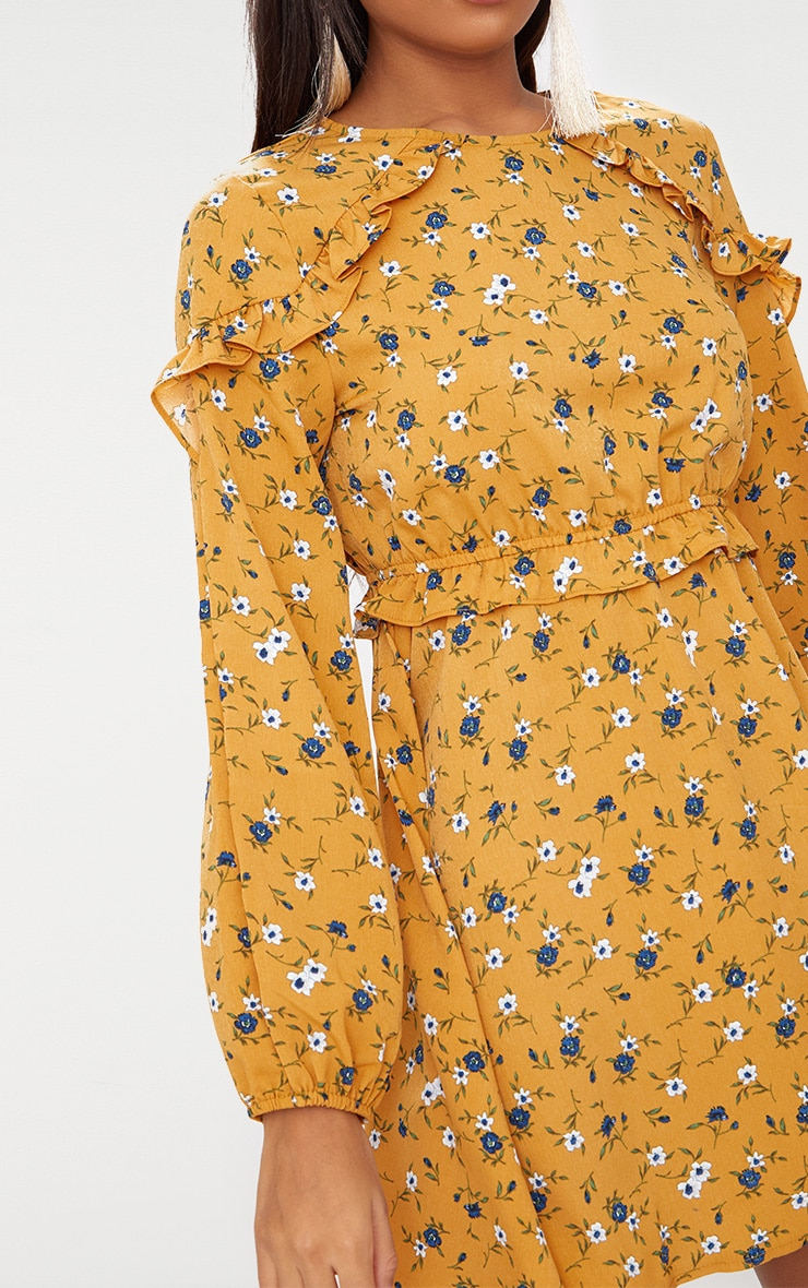 Mustard Floral Frill Long Sleeve Shift Dress  4