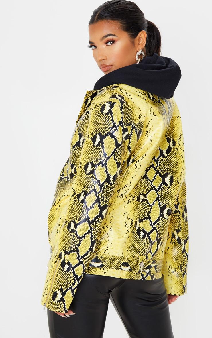 Yellow Snake Print Faux Leather Biker Jacket 2