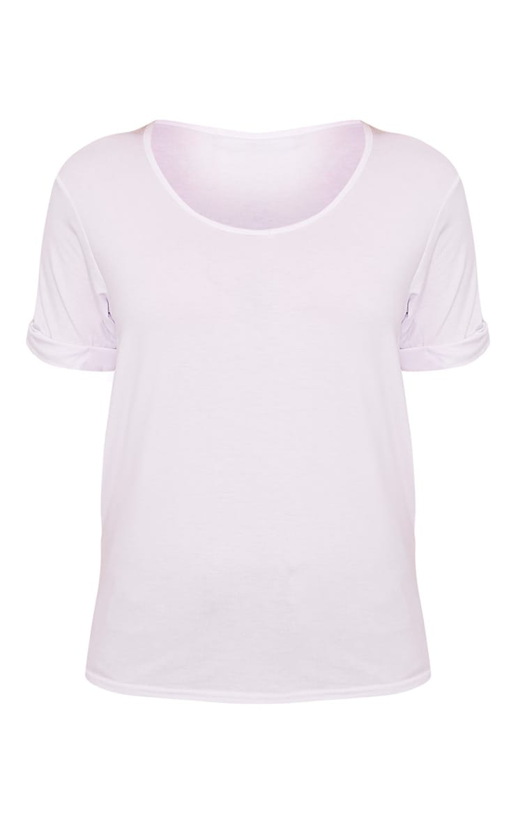 Basic White V Neck Oversized T-Shirt 4