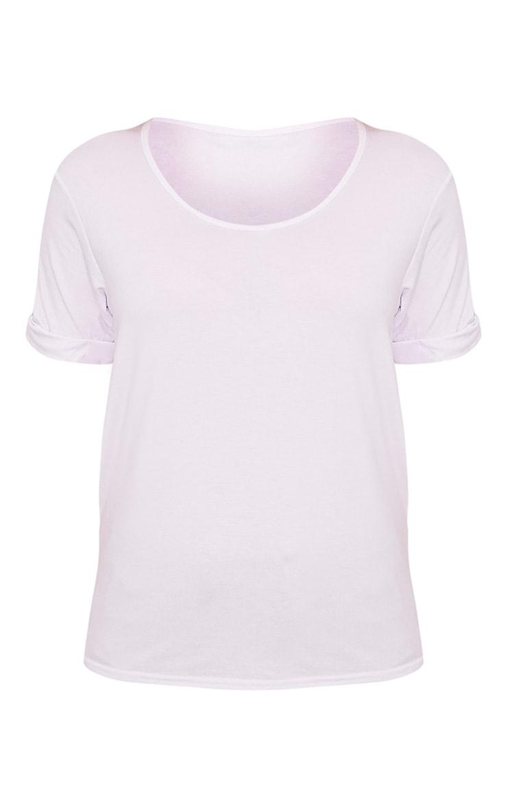 Basic t-shirt surdimensionné à col en V blanc 4