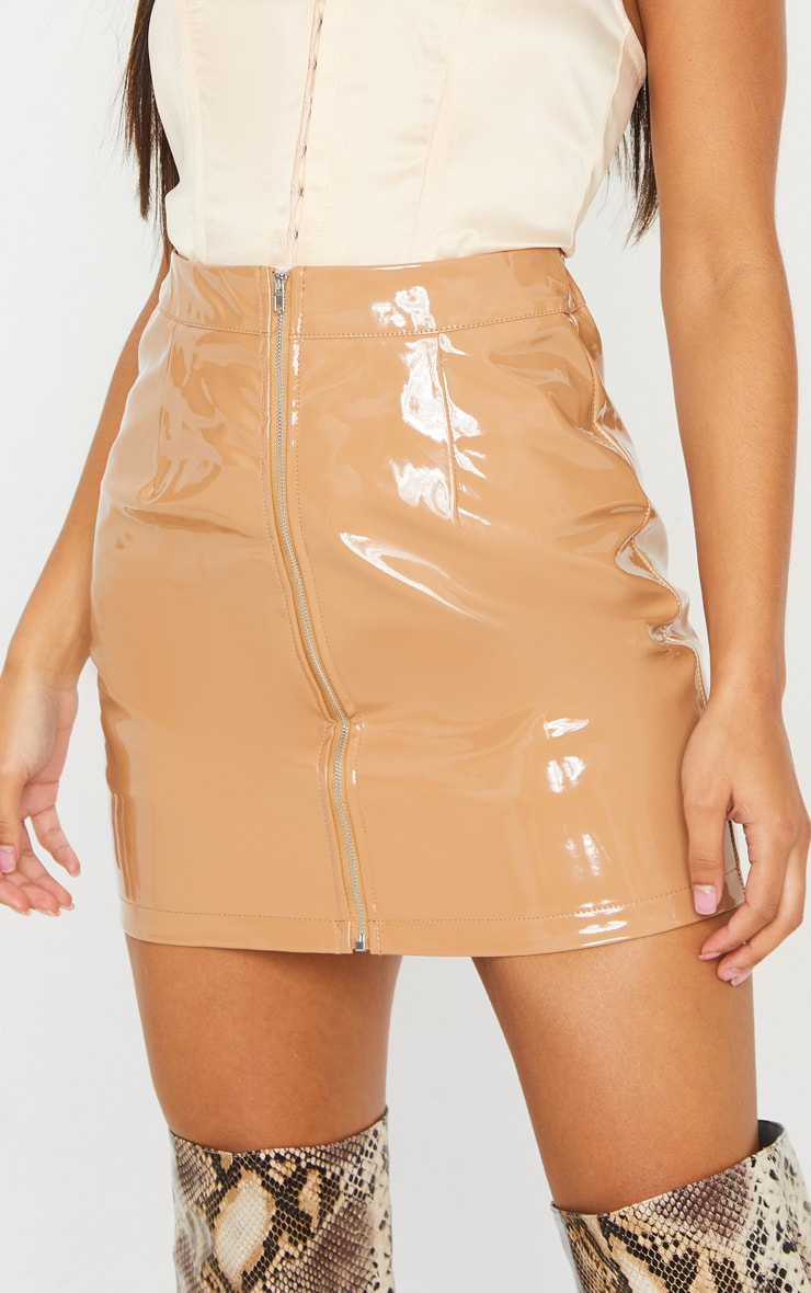 Chestnut Vinyl Mini Skirt  6