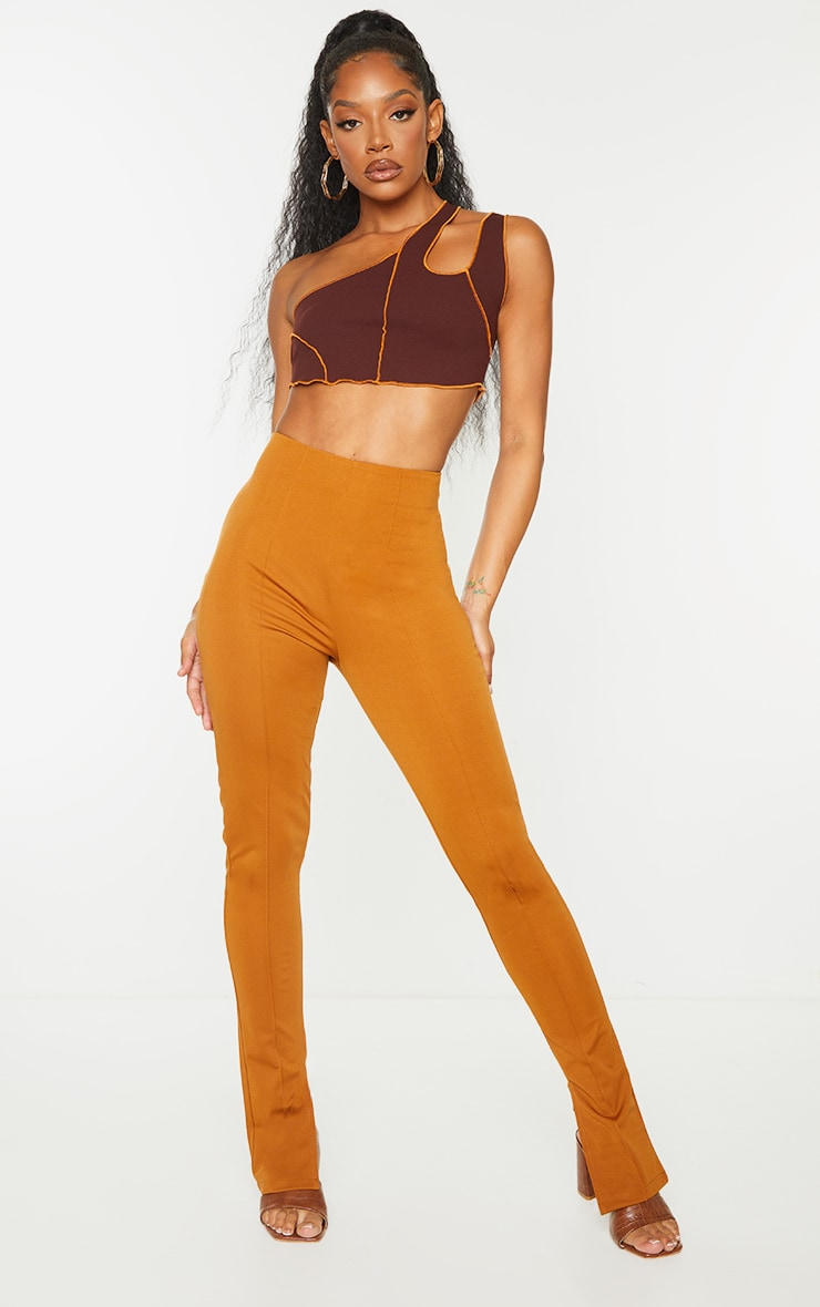 Chocolate Crepe Contrast Seam Double Strap Crop Top 3