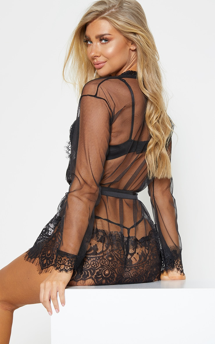Black Mesh And Lace Sheer Robe And Knicker Set  2