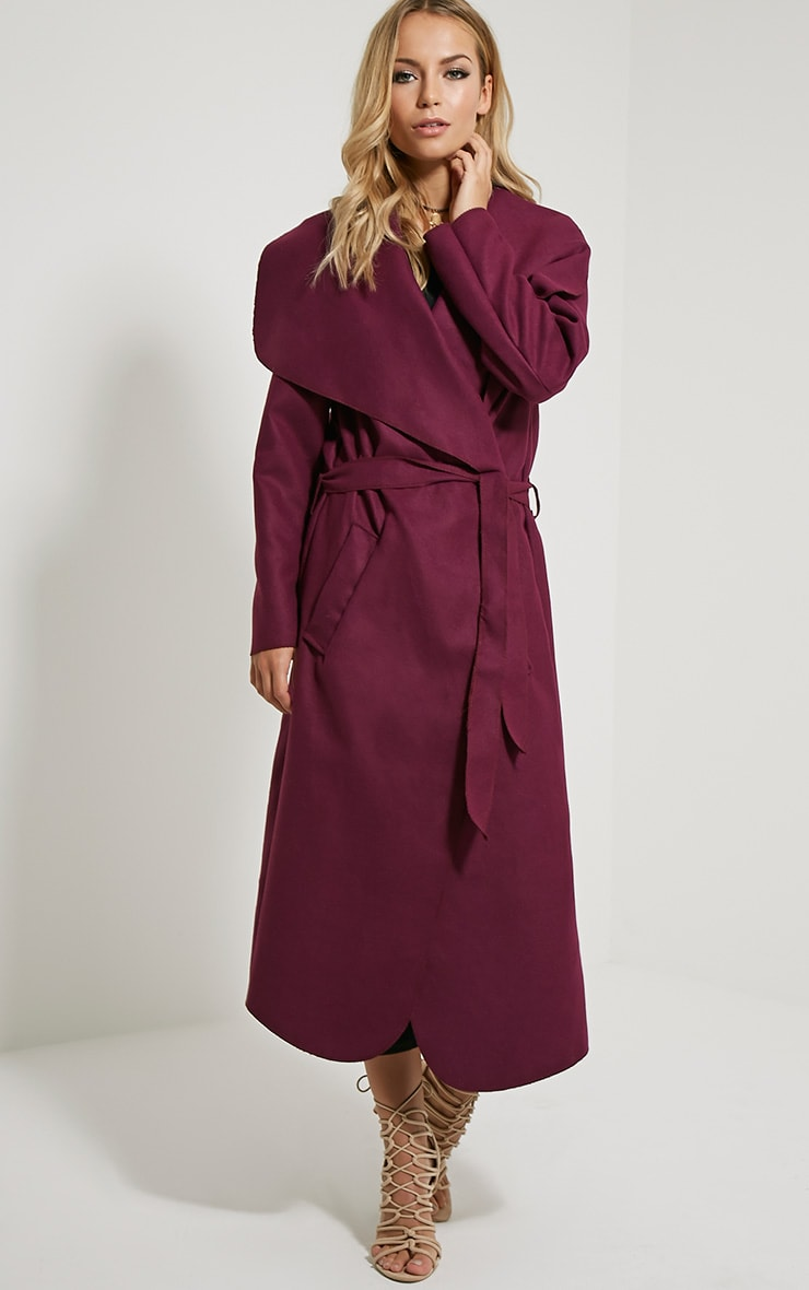 Veronica Purple Oversized Waterfall Belt Coat 4