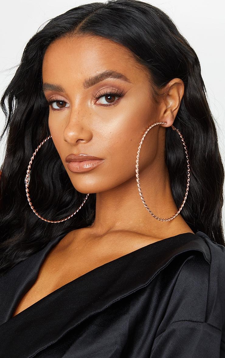 Rose Gold 12cm Large Twisted Hoop Earrings 1