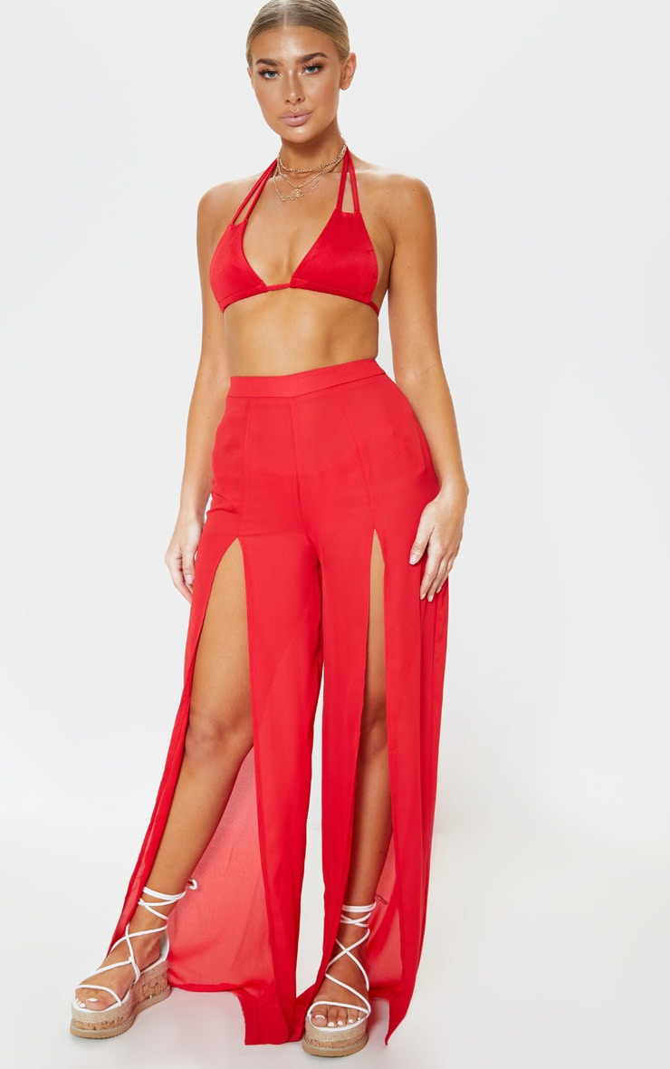 294ff8b342 Red Split Leg Beach Trouser | PrettyLittleThing