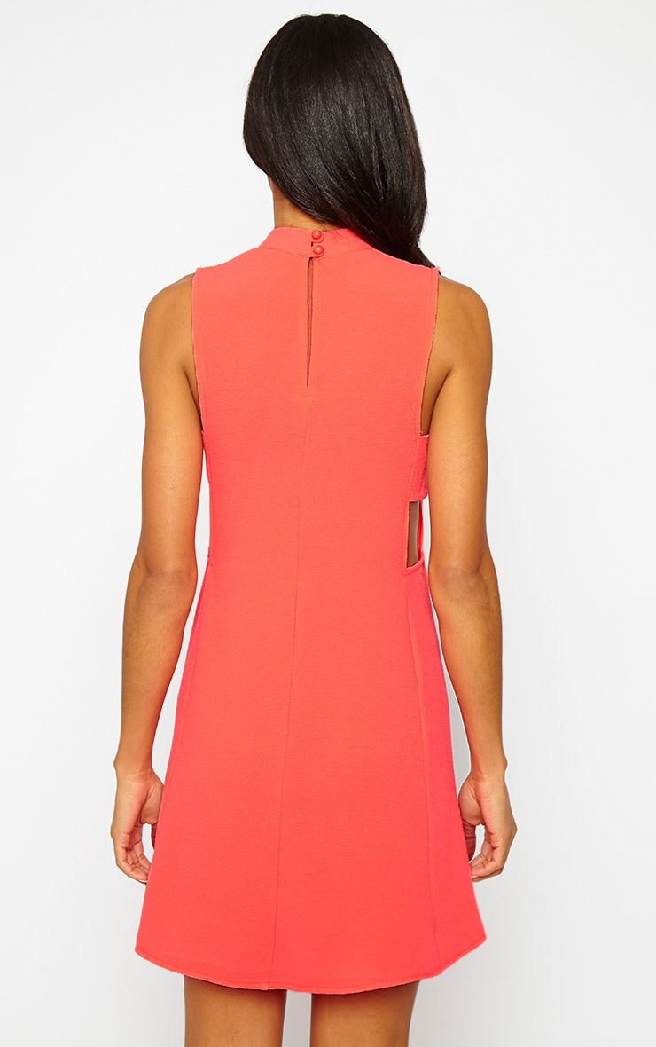 Rina Neon Pink Cut Out Tabard Dress 2