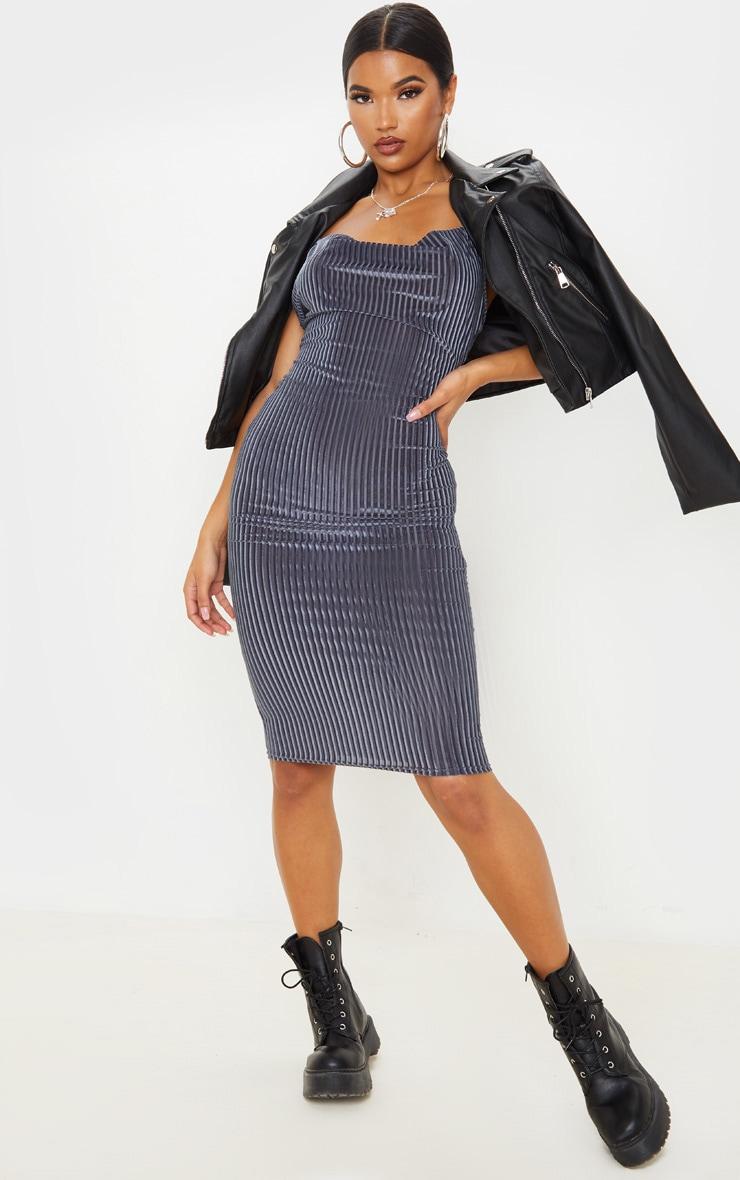 Grey Velvet Rib Cowl Neck Midi Dress 1