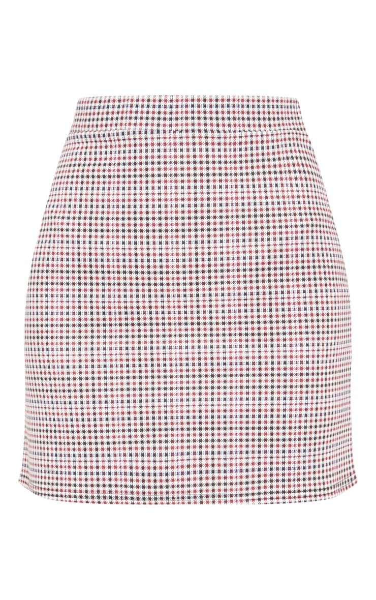 Navy Checked Mini Skirt 3