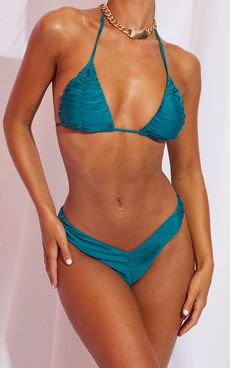 Teal Ruched Front & Back Bikini Bottom 1