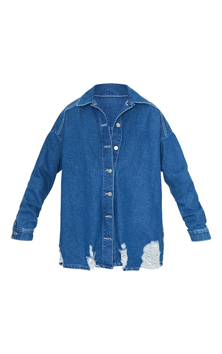 Mid Blue Wash Oversized Drop Shoulder Distressed Denim Shirt 5