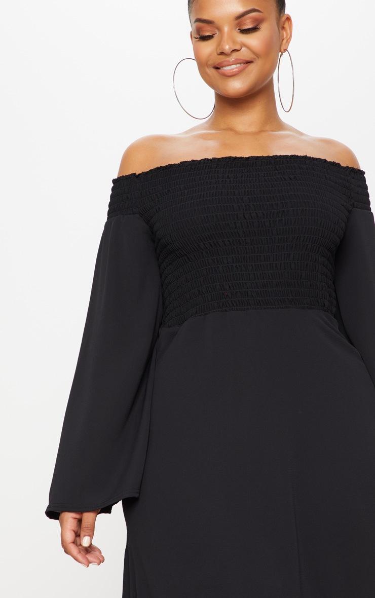 Plus Black Shirred Bardot Swing Dress 5