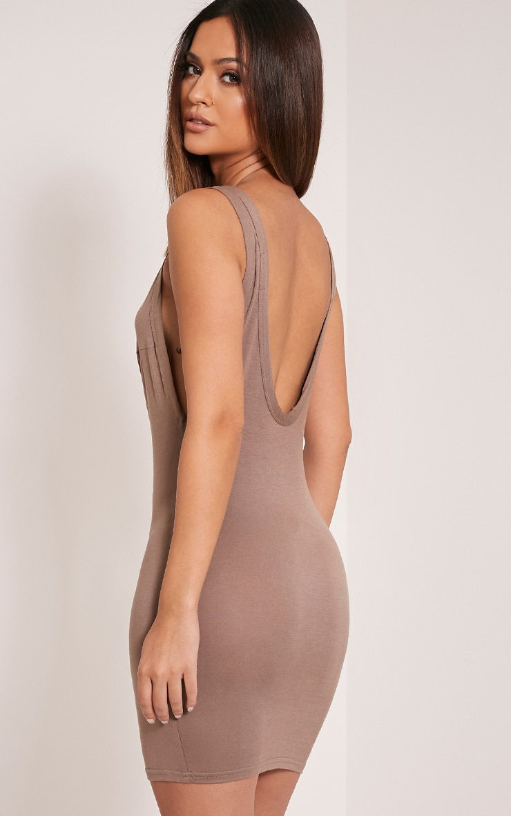 Basic Taupe Drop Armhole Bodycon Dress 1