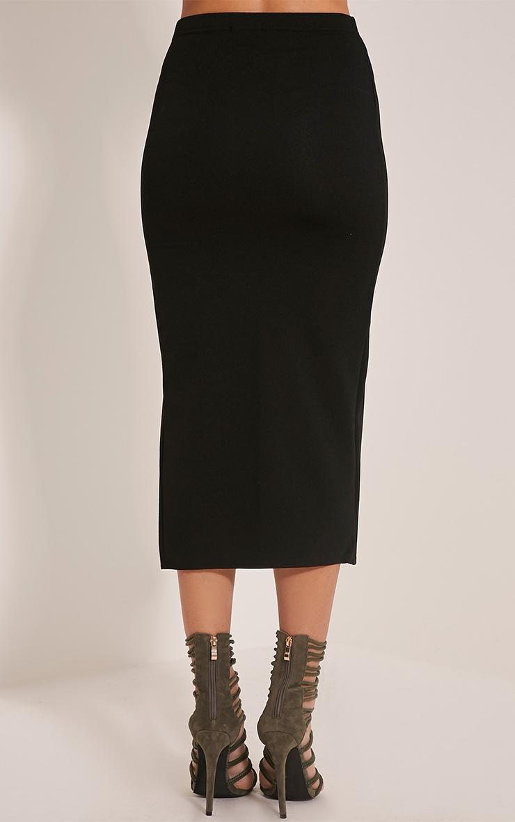 Salia Black High Split Midi Skirt 5