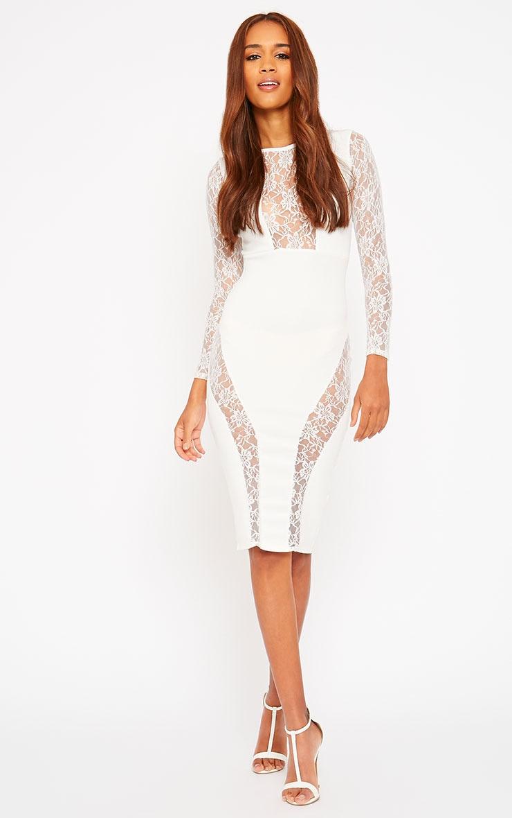 Perla Cream Lace Insert Dress 3