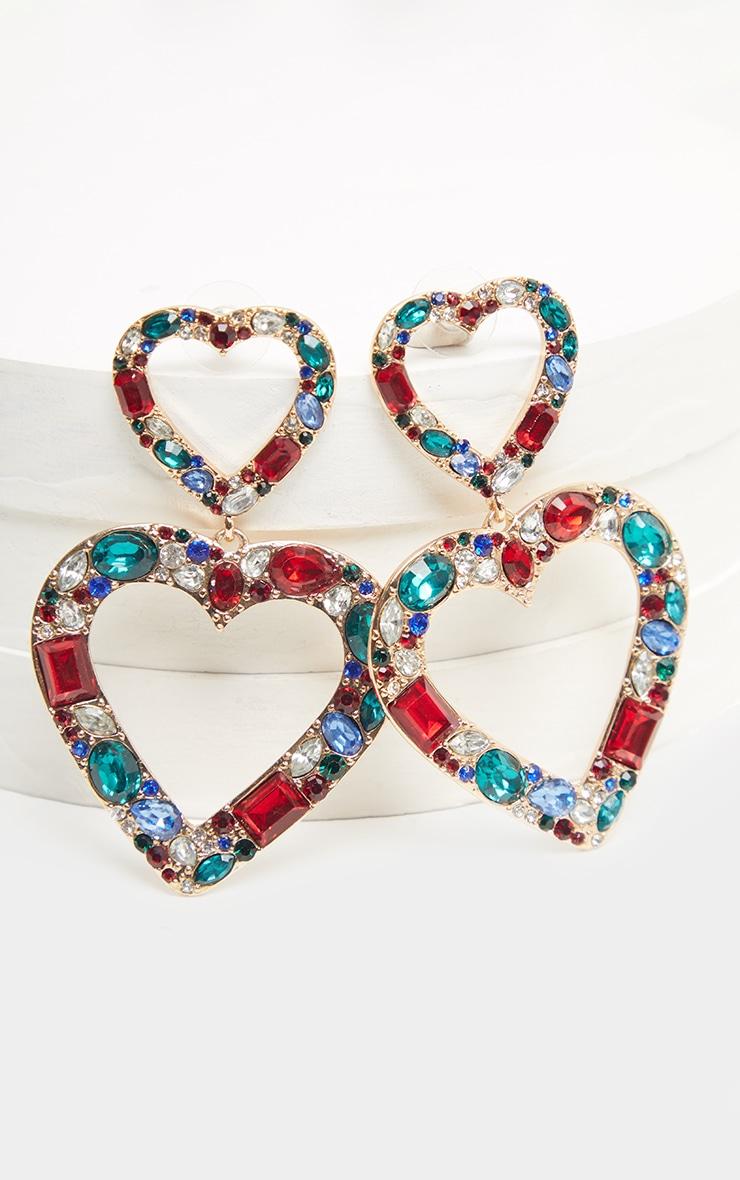 Boucles d'oreilles pendantes multicolores à coeur double et pierres fantaisie cristal 1