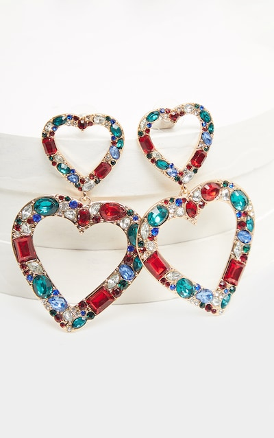 Multi Crystal Cluster Double Heart Drop Earring