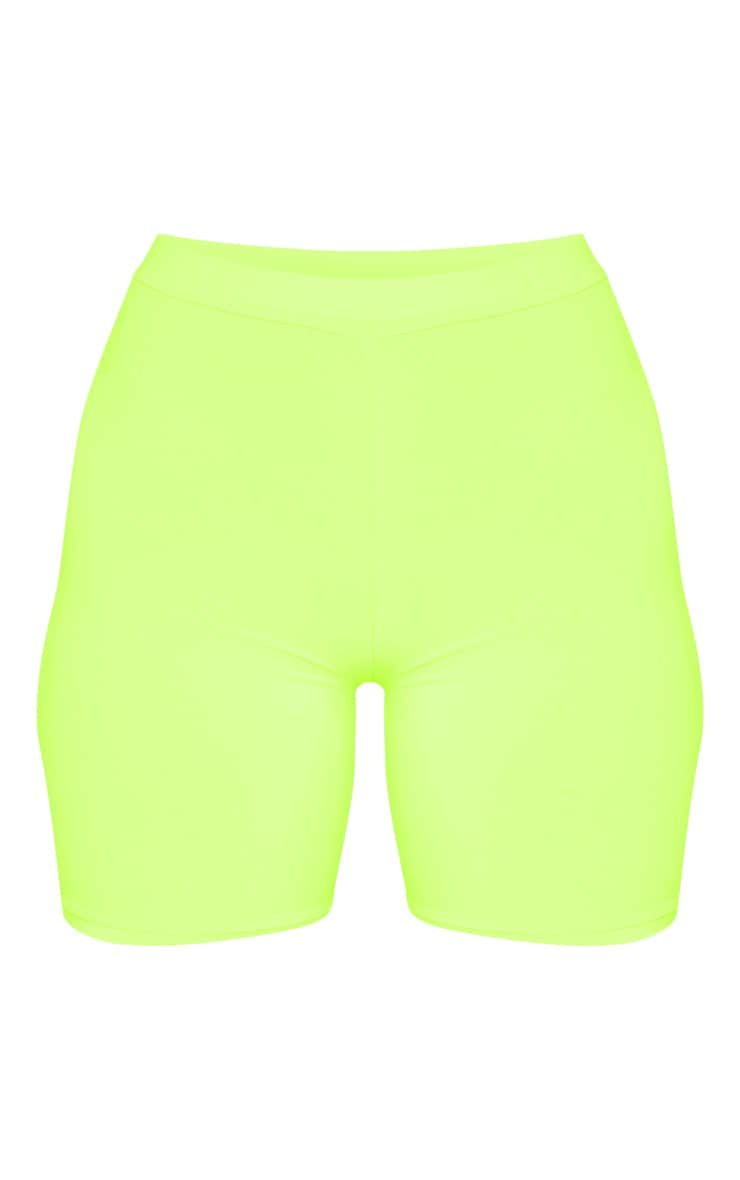 Neon Lime Slinky High Waisted Bike Shorts 3