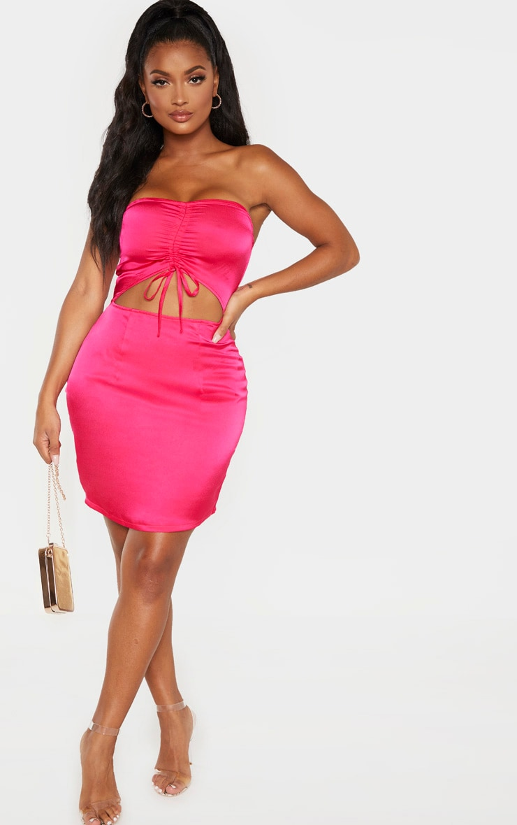Shape Hot Pink Cut Out Ruched Bust Bodycon Dress 4