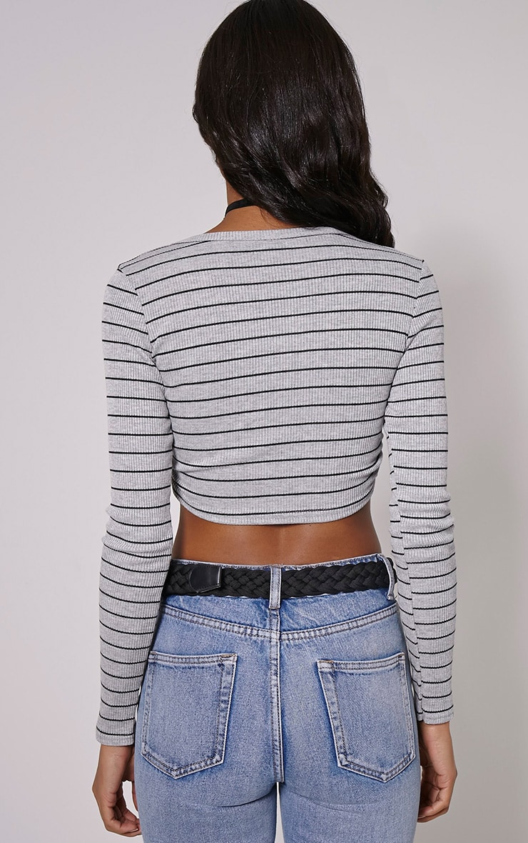 Daisy Grey Striped V Neck Long Sleeve Crop Top 2