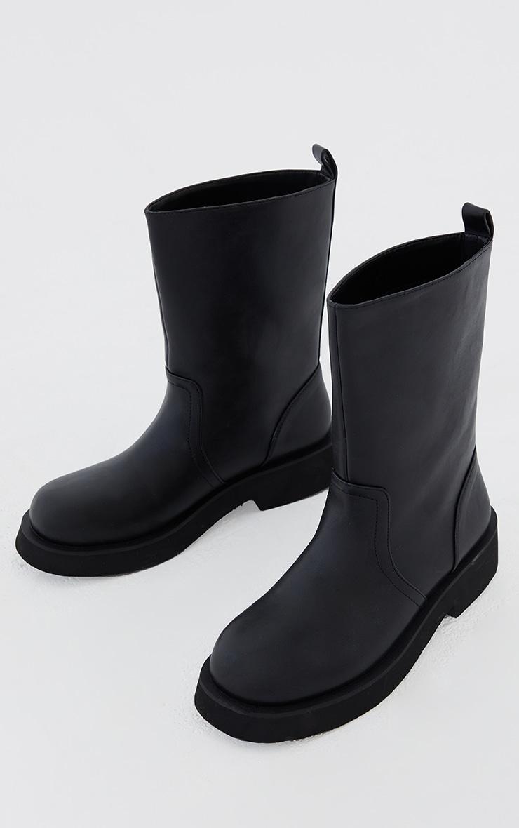 Black PU Contrast Foam Sole Ankle Boots