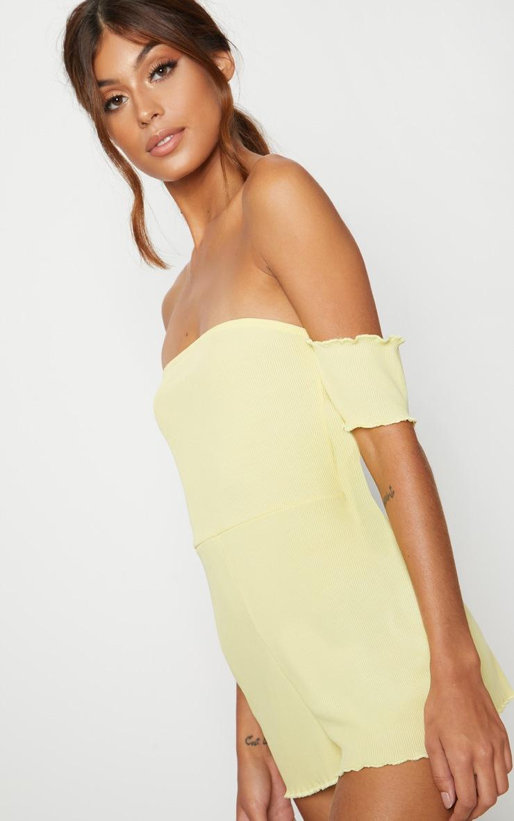 Lemon Ribbed Bardot PJ Romper 5