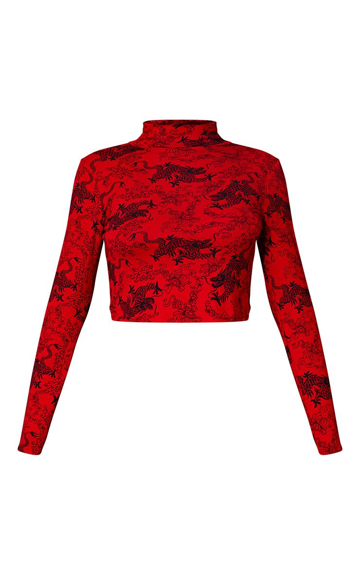 Red Dragon PrintHigh Neck Long Sleeve Crop Top 5