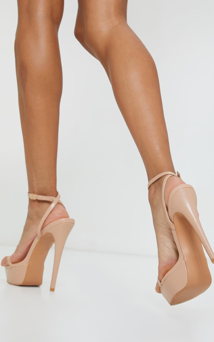 Nude Pu Platform Strappy High Heels 2