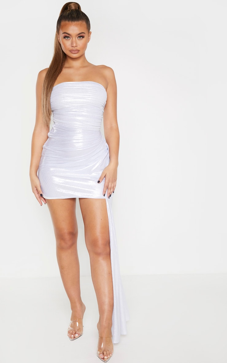 Silver Metallic Bandeau Drape Bodycon Dress 3