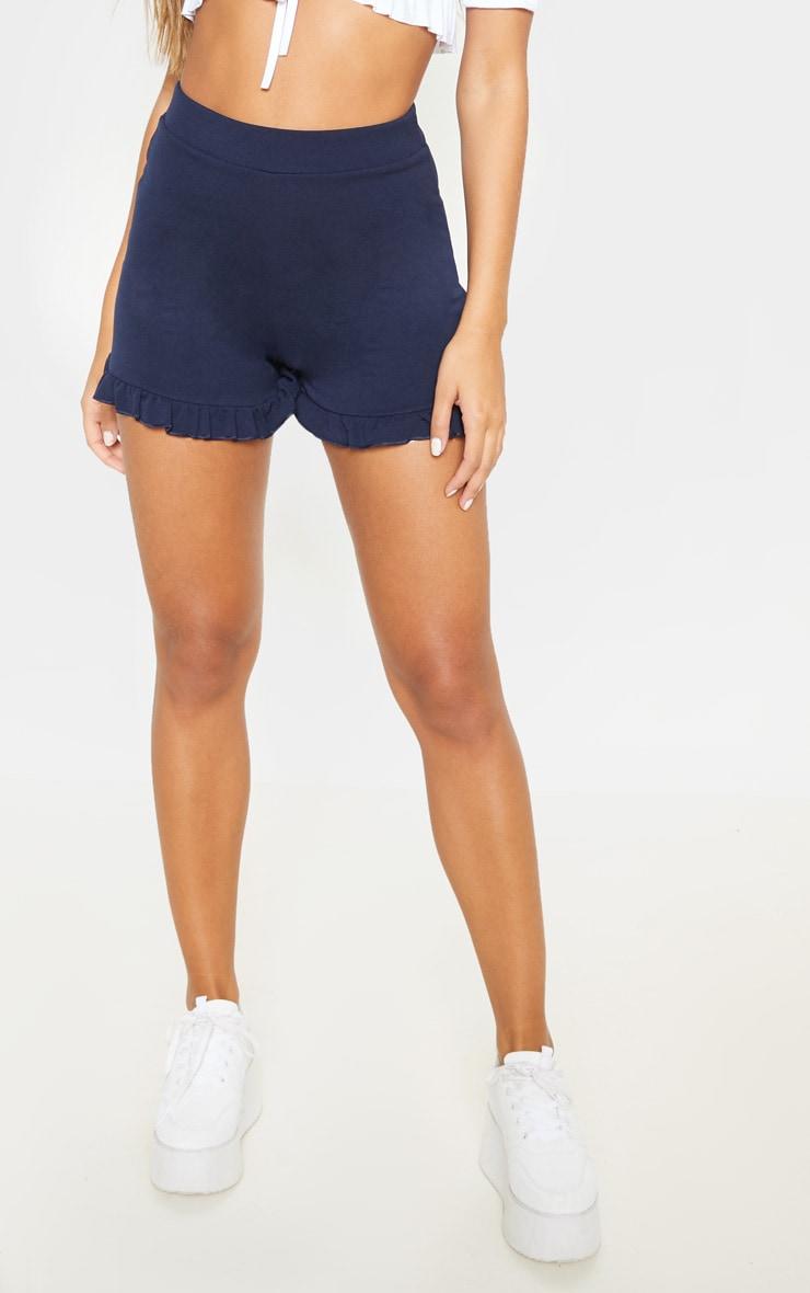 Navy Frill Hem Shorts 2