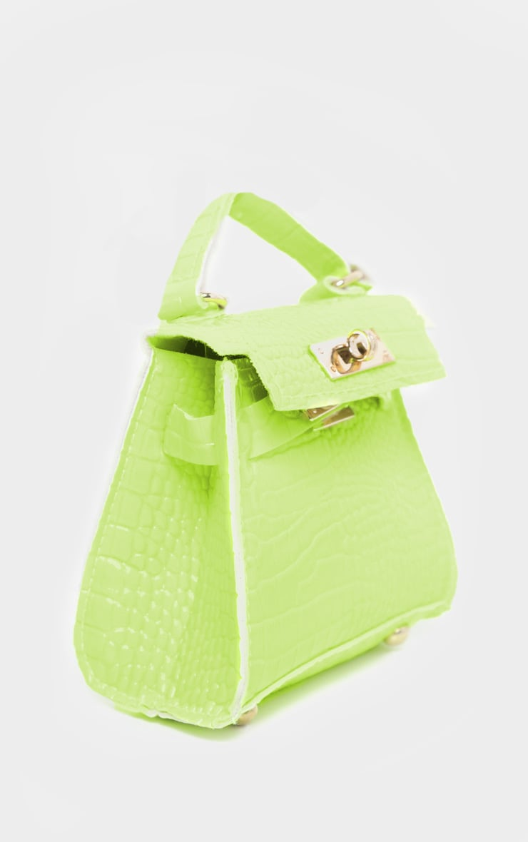 Mini-sac vert citron fluo effet croco 2