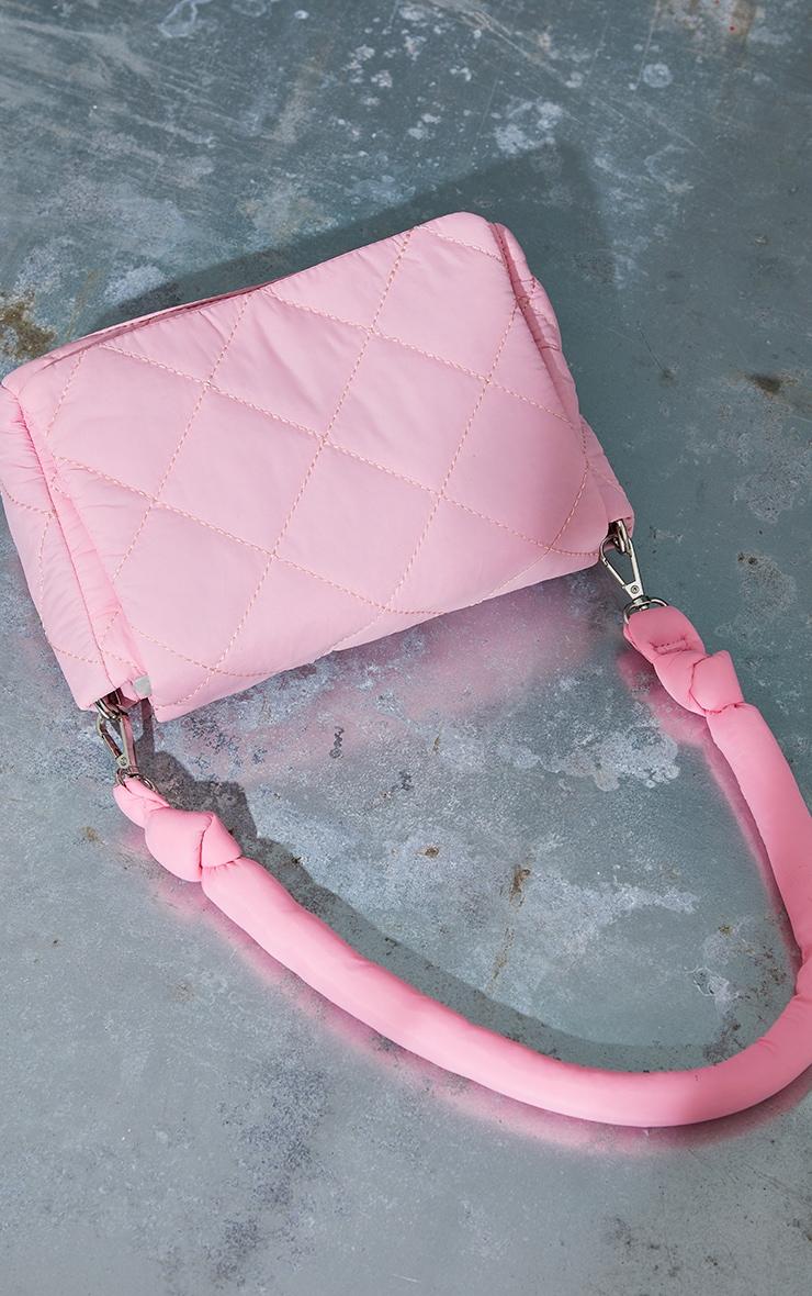 Pink Nylon Quilted Shoulder Bag 2
