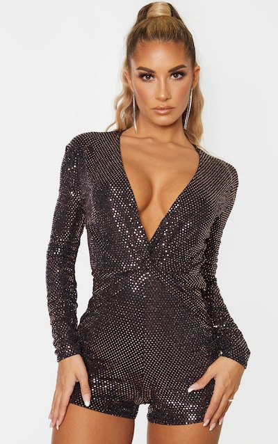 Rose Gold Sequin Twist Front Long Sleeve Playsuit