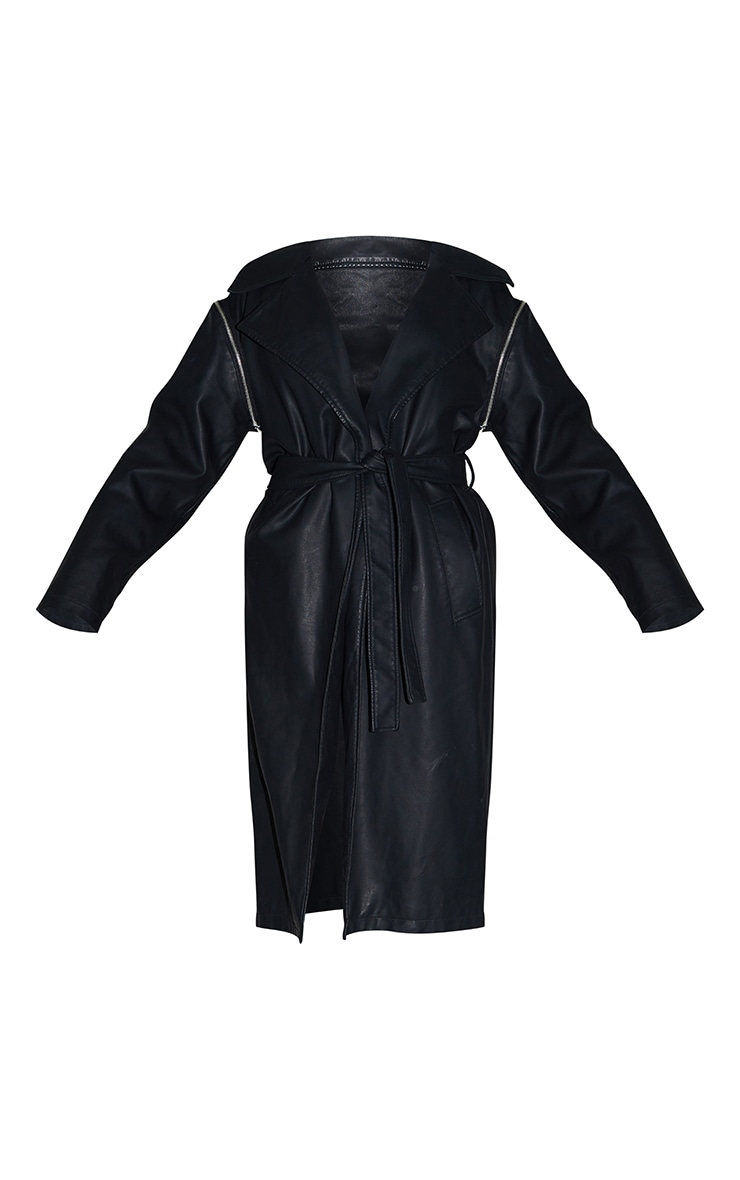 Black Faux Leather Removable Sleeves Trench 5