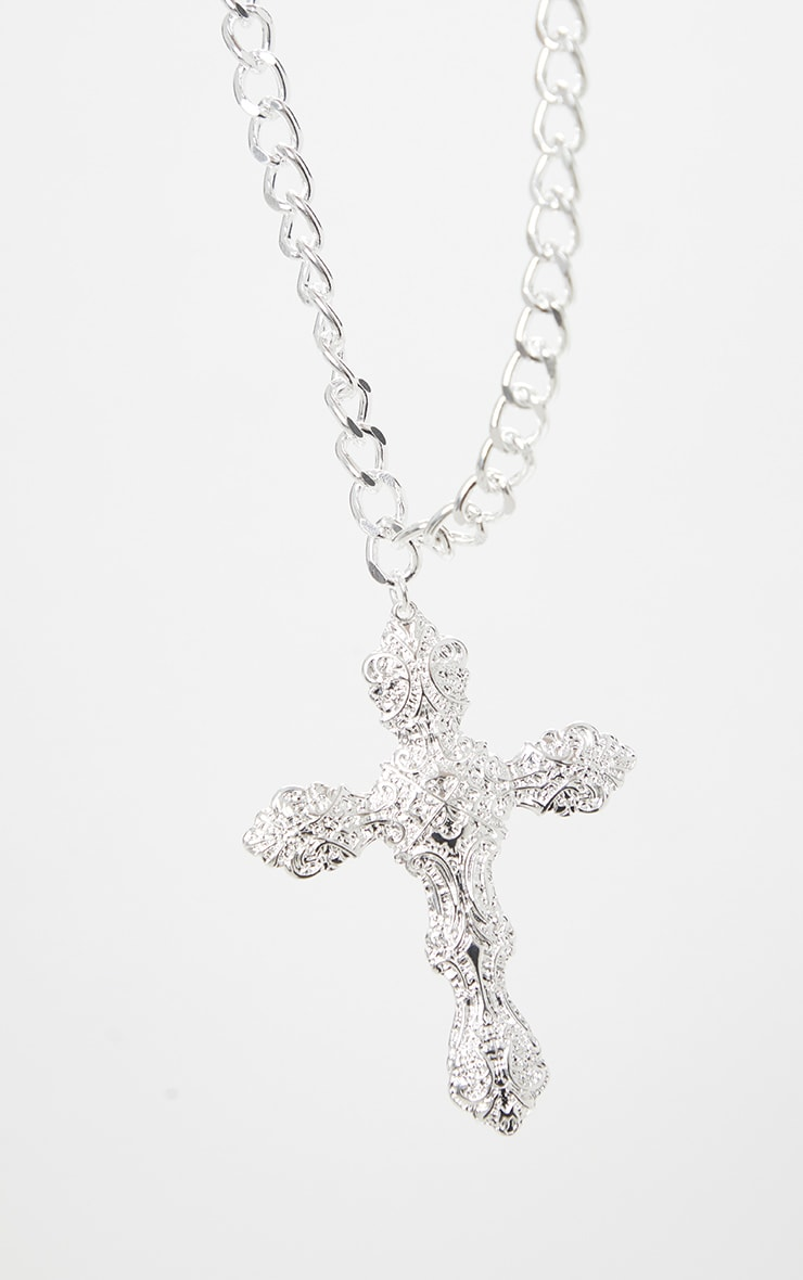 Silver Oversized Ornate Cross Chain Choker 3