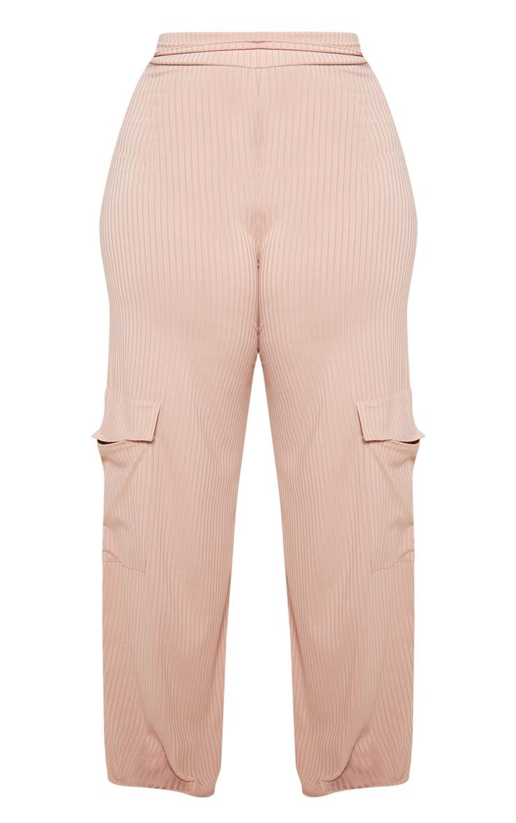 Plus Stone Ribbed Pocket Detail Wide Leg Trouser  3