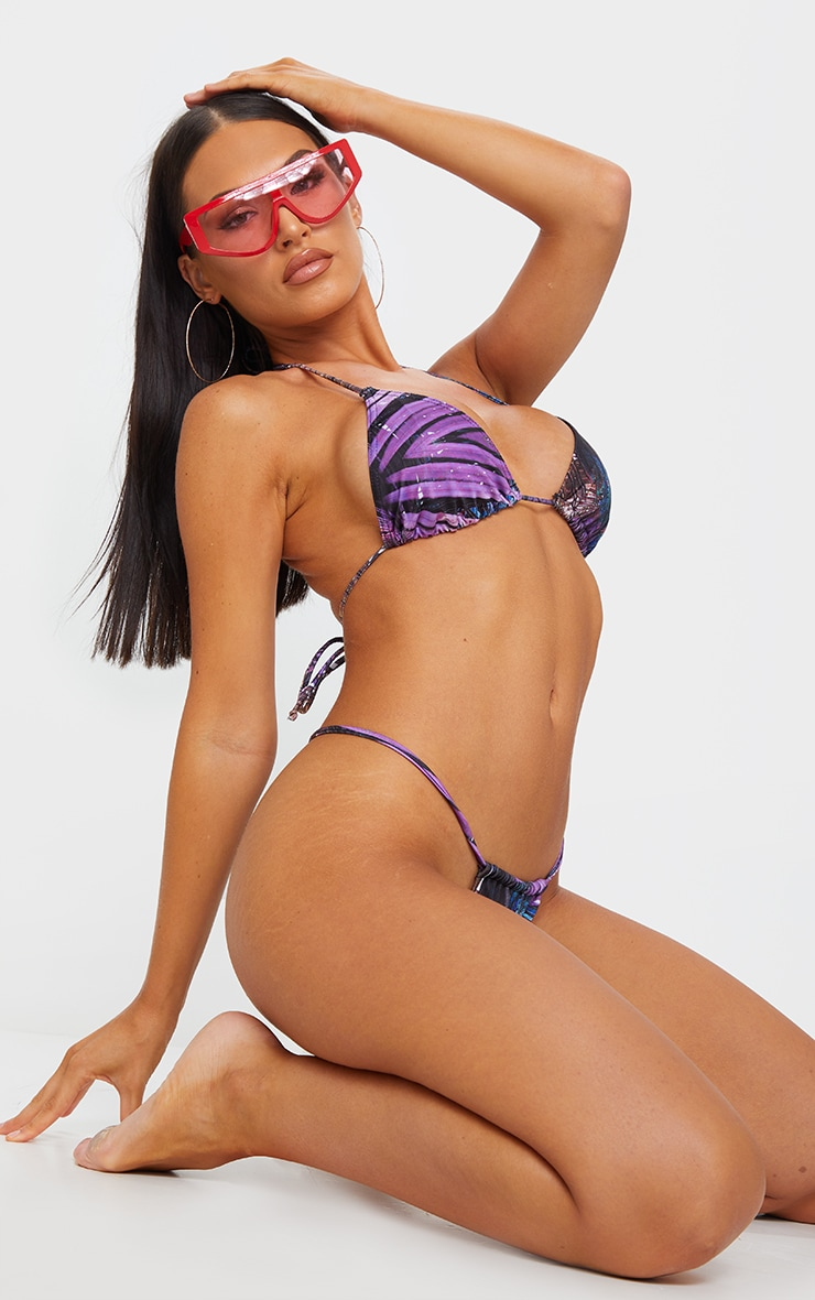 Purple Palm Print Mini Triangle Bikini Top 3