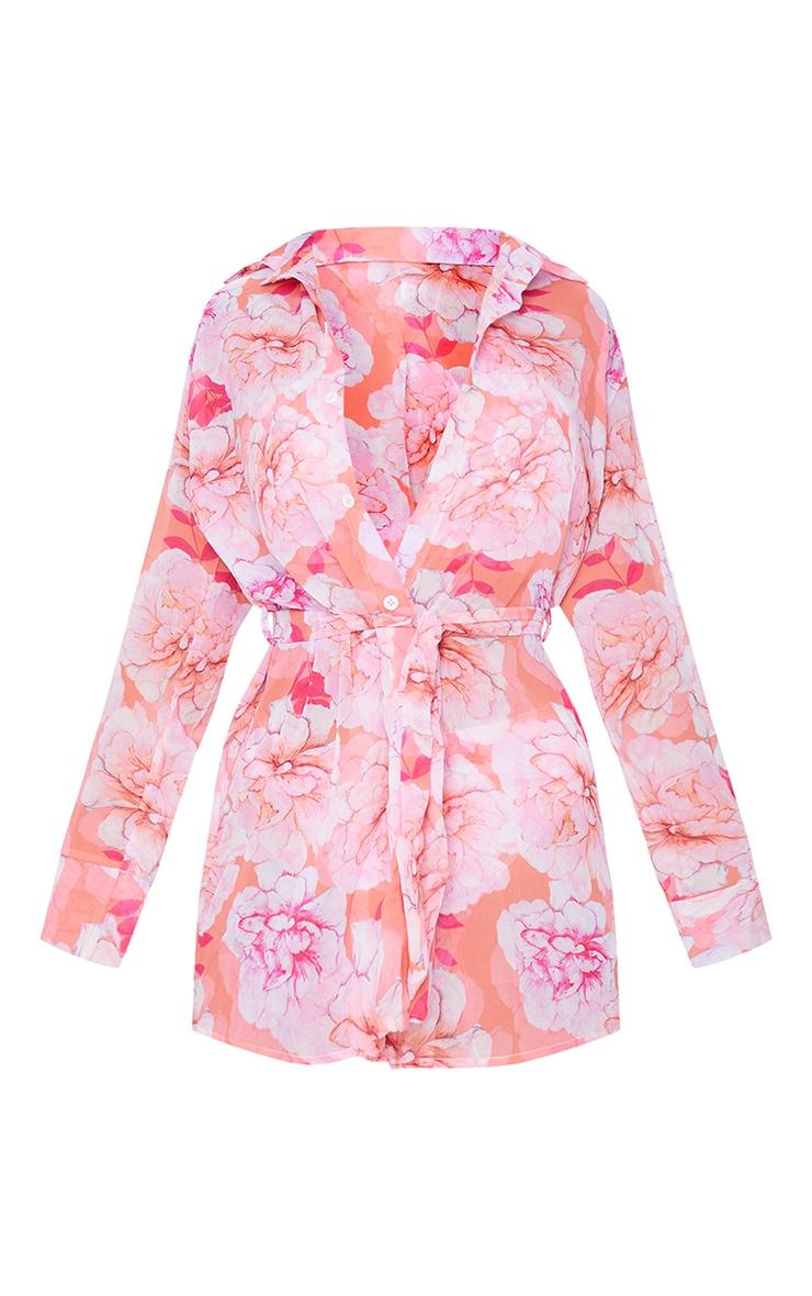 Pink Floral Tie Beach Shirt 5