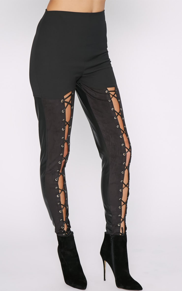 Philippa Black Suedette Panel Lace up Legging  7