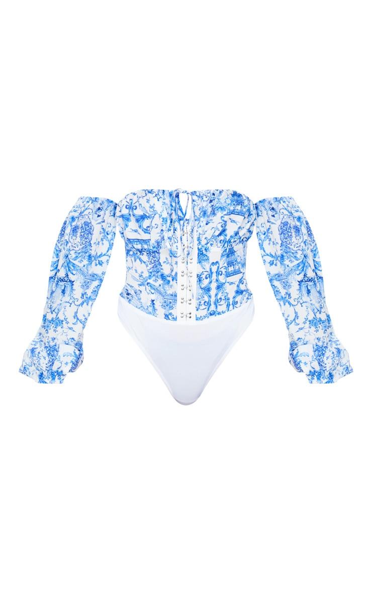 Blue Porcelain Print Hook and Eye Bardot Long Sleeve Bodysuit 5
