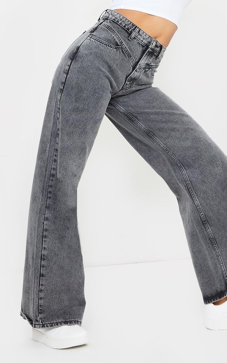 Grey Acid Seam Detail Wide Leg Jeans 4