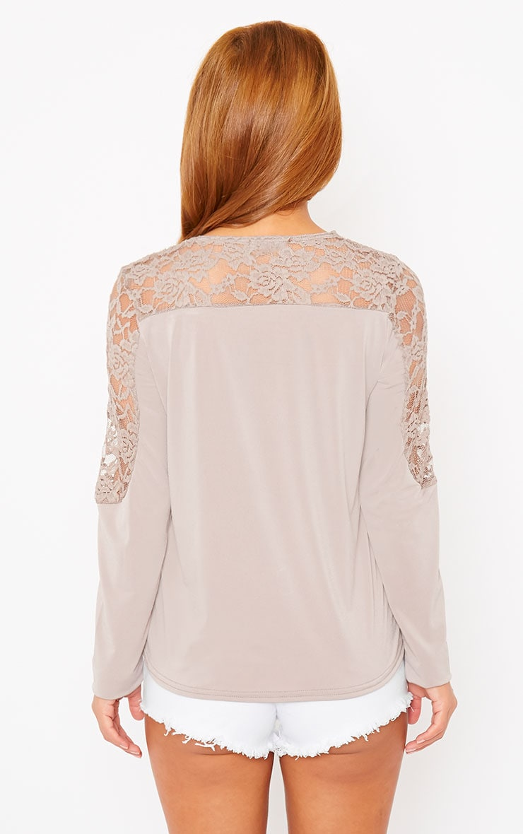 Loretta Mocha Long Sleeve Lace Panel Top 2