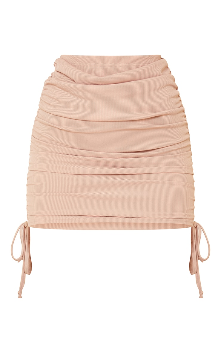 Stone Ribbed Ruched Mini Skirt 6