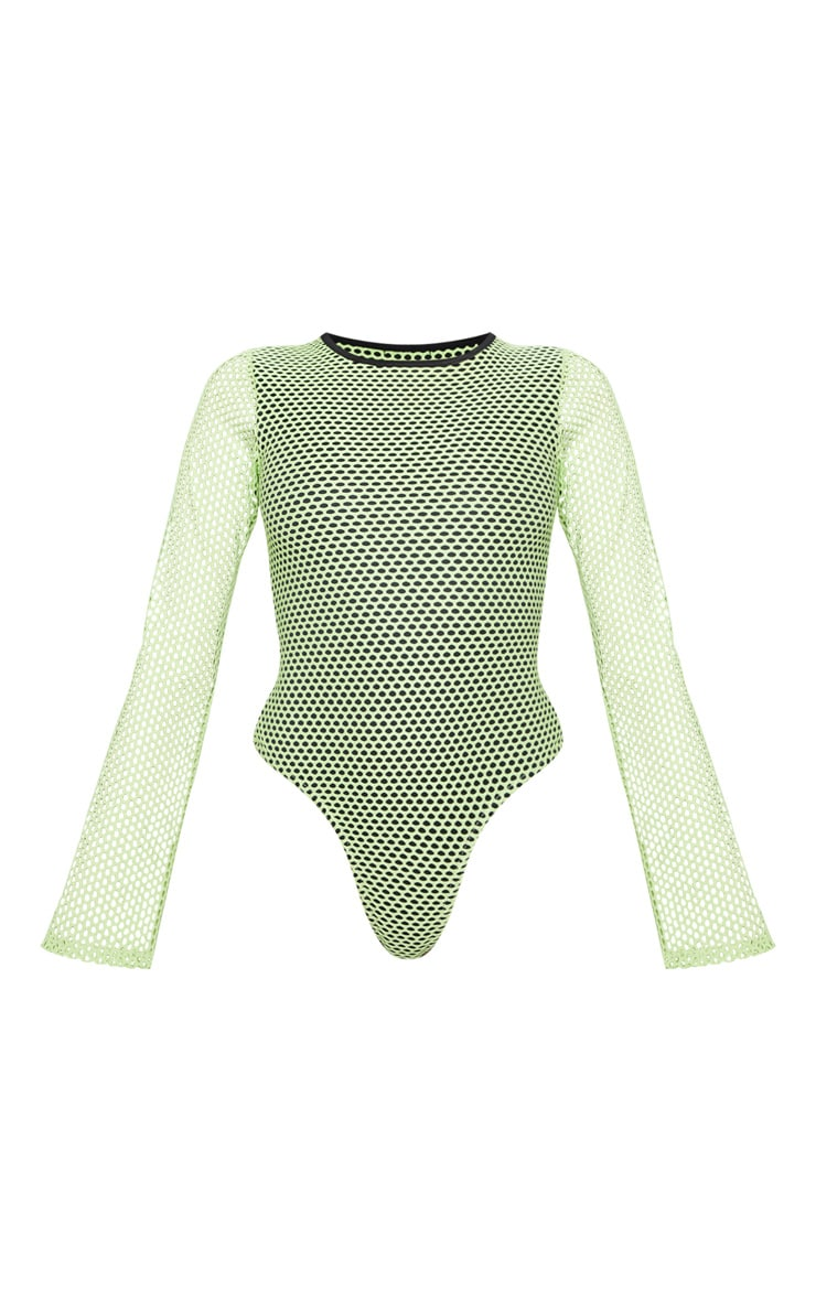 Neon Lime Fishnet Long Sleeve Bodysuit 3
