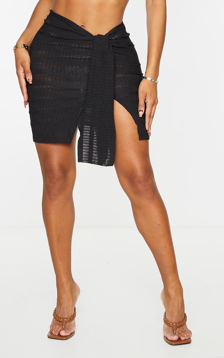 Shape Black Textured Knot Detail Bodycon Skirt 2