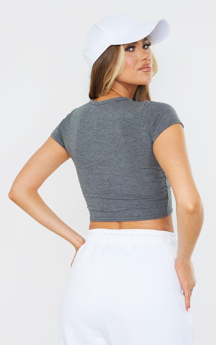 PRETTYLITTLETHING Charcoal Established Slogan Short Sleeve Crop T Shirt 2