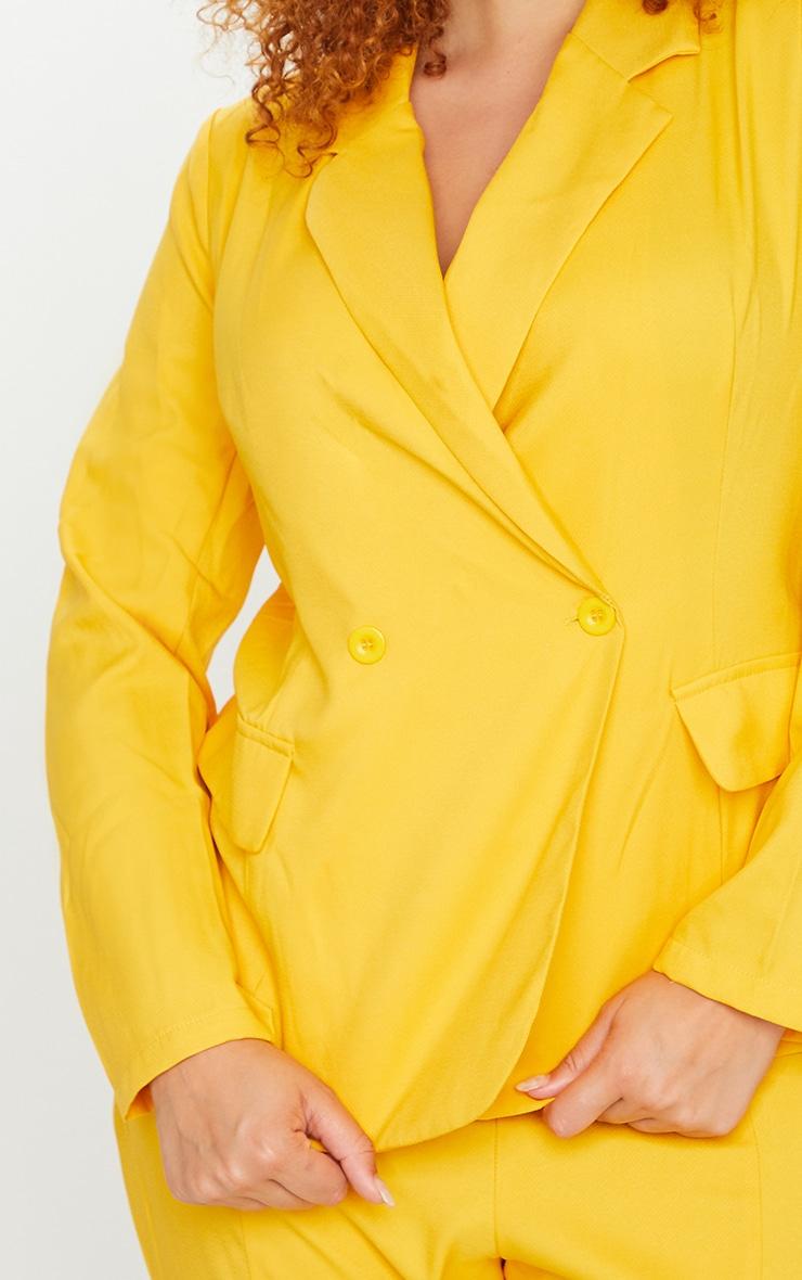 Plus Chartreuse Woven Button Blazer 4