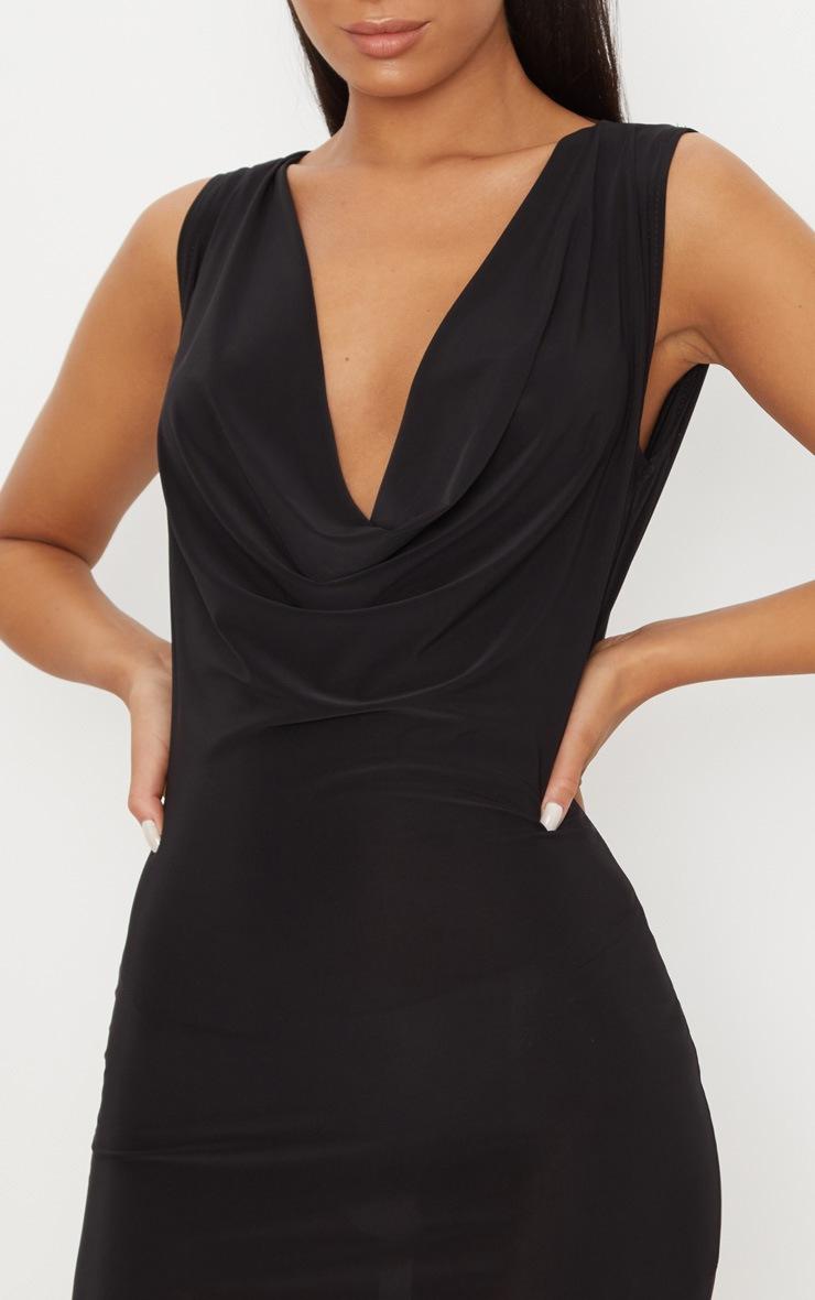Black Slinky Extreme Cowl Front & Back Sleeveless Bodycon Dress 5