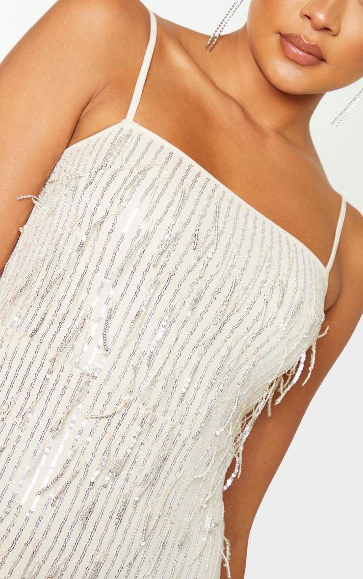 Nude Strappy Tassel Sequin Stripe Bodycon Dress 5